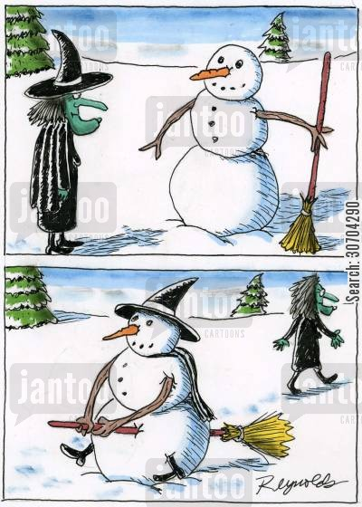 broom sticks cartoon humor: Witch's Snowman.