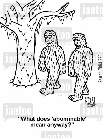 nepal cartoon humor: 'What does 'abominable' mean anyway?' (abominable snowman)