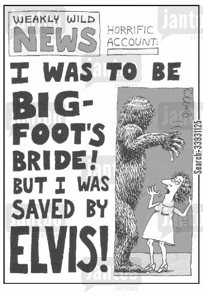 tabloid newspapers cartoon humor: I was to be Big-Foot's bride...but I was saved by Elvis!