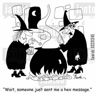 hex cartoon humor: 'Wait, someone just sent me a hex message.'