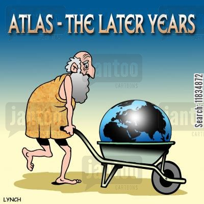 classicists cartoon humor: Atlas - The later years