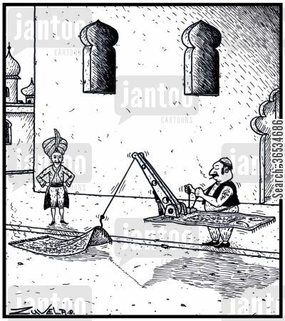 magic carpets cartoon humor: A Man's Magic Carpet has broken down and is being towed away