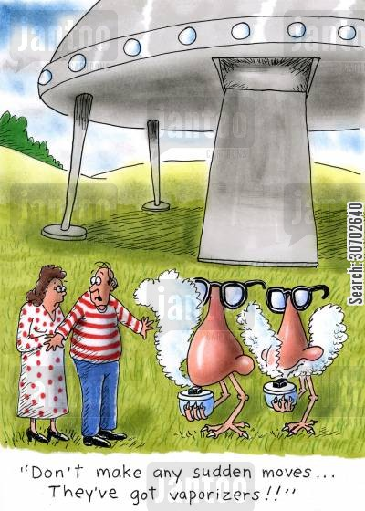 blocked nose cartoon humor: 'Don't make any sudden moves...they've got vaporizers!'