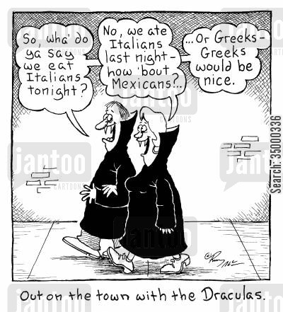 night out cartoon humor: Out on the Town with the Draculas