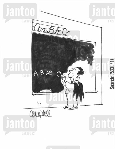 b-type cartoon humor: Child vampire writes blood types on blackboard instead of alphabet