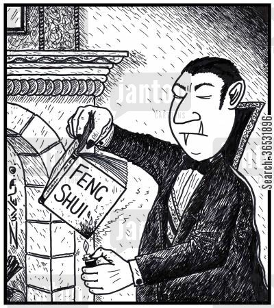 self-help books cartoon humor: Dracula starting to burn a Feng Shui book. His left tooth is sticking up the wrong way