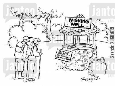 hiked cartoon humor: Wishing well out of order - Try wishing upon a star.