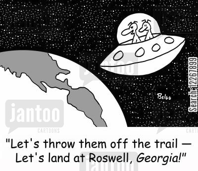 georgia cartoon humor: 'Let's throw them off the trail -- Let's land in Roswell, GEORGIA!'
