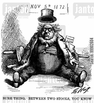 horace greeley cartoon humor: Horace Greeley 'Between Two Stools'