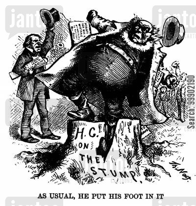 horace greeley cartoon humor: Horace Greeley Put his Foot in It