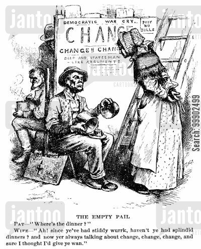 1880 election cartoon humor: 1880 Presidential Election -Democratic Call for Tariff Reforms Means Hunger for Workers