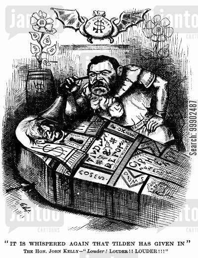 1880 election cartoon humor: 1880 Presidential Election - John Kelly Anxious that Tilden Refuses Democratic Candidacy