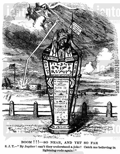 1880 election cartoon humor: Tilden Formally Withdraws from Democratic Candidacy Race