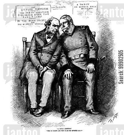 1880 election cartoon humor: General Hancock at odds with Senator Randolph, dismissing Tariff Reform as a 'Local Question'