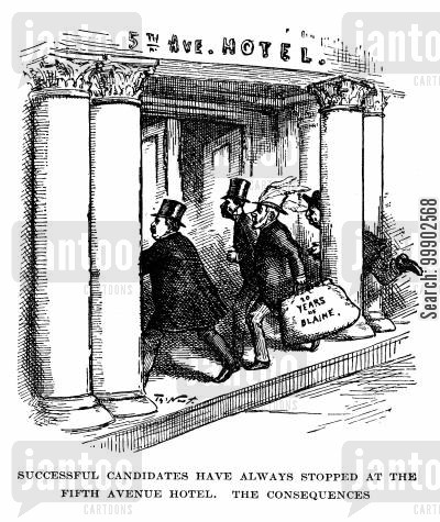 fifth avenue hotel cartoon humor: 1884 Presidential Election - 20 Years of Blaine