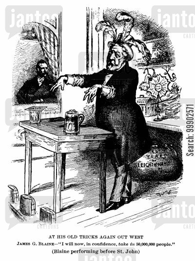 republican party cartoon humor: 1884 Presidential Election - Blaine the Deceiver of the Electorate