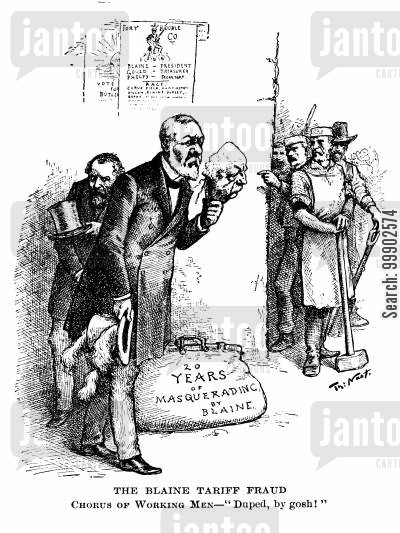 tariff cartoon humor: 1884 Presidential Election - 'The Blaine Tariff Fraud'