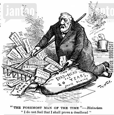 james g blaine cartoon humor: 1884 Presidential Election - Blaine Attempts to Collect his Past Record with a Rake