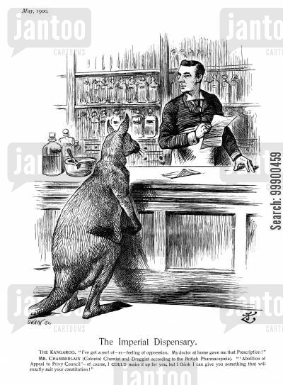 1900 australia act cartoon humor: Chamberlain Introduces his Commonwealth of Australia Bill