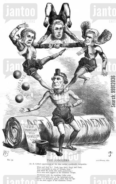 political juggling cartoon humor: The Jugglers - Gladstone and Liberals