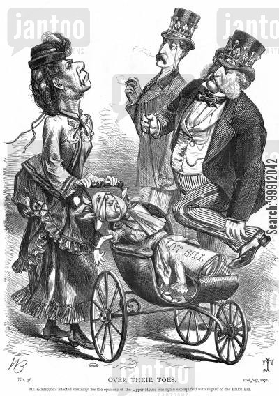 ballot act cartoon humor: Gladstone running over the Lords' toes with tthe Ballot Bill