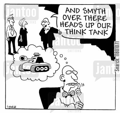 thinking process cartoon humor: ...Smyth over there heads up our think tank.