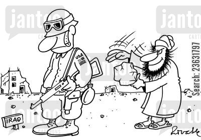 gunman cartoon humor: Iraqi tries to shock American with a paper bag.