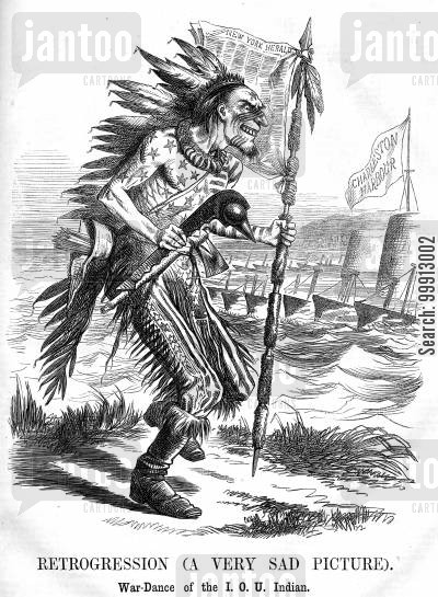 warfare cartoon humor: Uncle Sam as an Indian performing a war-dance outside the blockaded Charlestown Harbour
