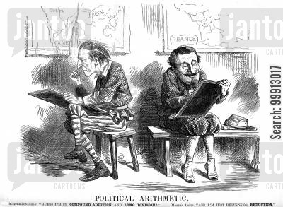 armament cartoon humor: Political arithmatic of America and France