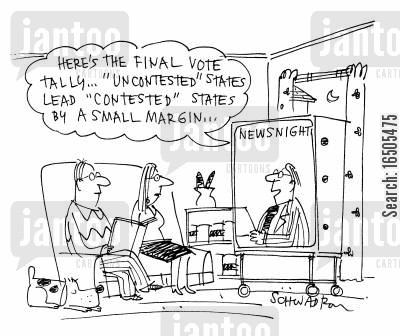 media coverage cartoon humor: 'Here's the final vote tally...'uncontested' states lead 'contested' states by a small margin....'