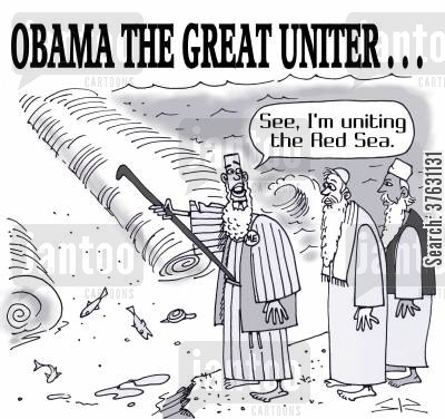 barack cartoon humor: Obama The Great Uniter,,, 'See, I'm uniting the Red Sea,'