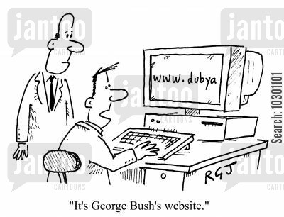 home page cartoon humor: It's George Bush's website.