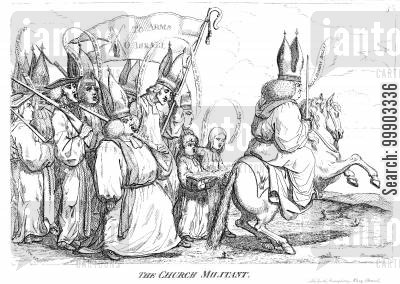 american revolution cartoon humor: 'The Church Militant'- C of E Support for War Against American Colonies