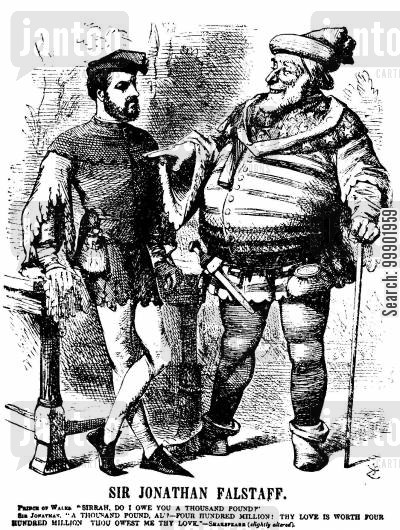 anglo-american relations cartoon humor: Alabama Claims - John Falstaff Analogy
