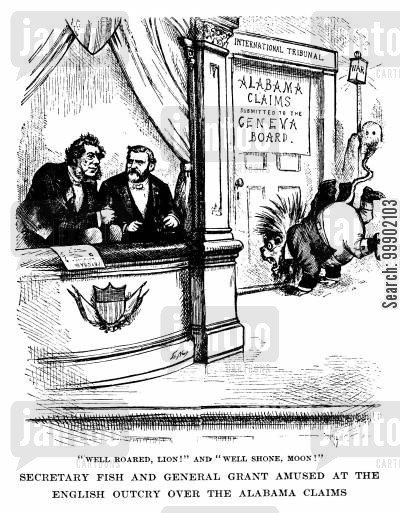 britain cartoon humor: 'Secretary Fish and General Grant Amused at the English Outcry over the Alabama Claims'