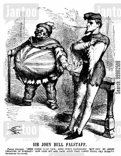 american foreign policy cartoon humor: Alabama Claims - Sir John Bull Falstaff Analogy