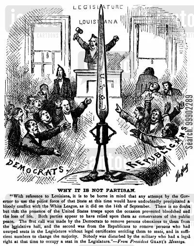 legislature cartoon humor: Martial Law in Louisiana 1875 - the 'US Bayonet' is Not Partisan