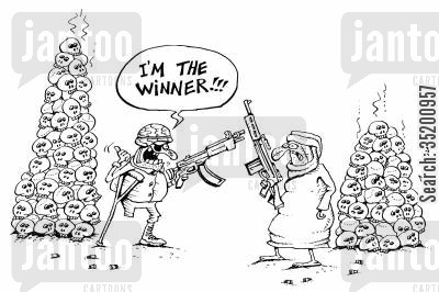 rivalry cartoon humor: 'I'm the winner!' (piles of skulls)