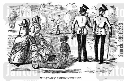 victorian officers cartoon humor: Military Improvement