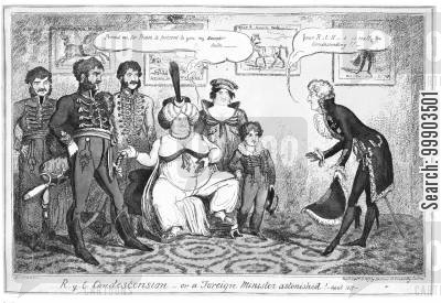 orientalism cartoon humor: Princess Caroline Introduces her Lover to Count Metternich