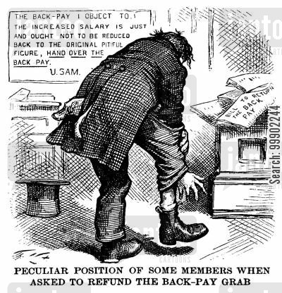 greenback party cartoon humor: 'Peculiar Position of Some Members When Asked to Refund the Back-Pay Grab'