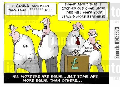 bank bonus cartoon humor: All workers are equal...but SOME are more equal than others
