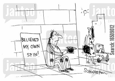 flawed politician cartoon humor: Beggar with sign - 'Believed my own spin!'