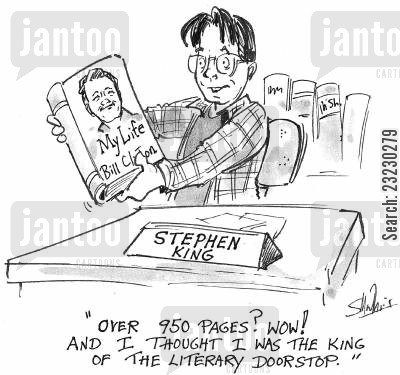 lewinsky cartoon humor: 'Over 950 pages?' Wow! And I thought I was the king of the literary doorstop.'