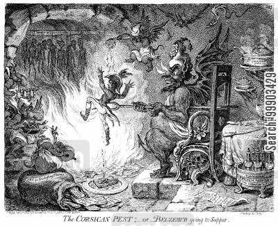 napoleonic wars cartoon humor: Napoleon Burning in Hell
