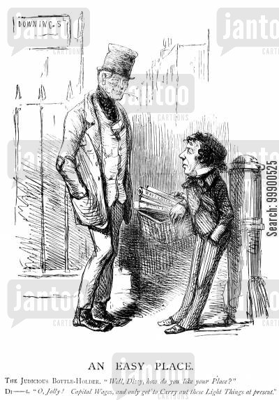 derby disraeli ministry cartoon humor: Disraeli Adopts Liberal Economic Policy