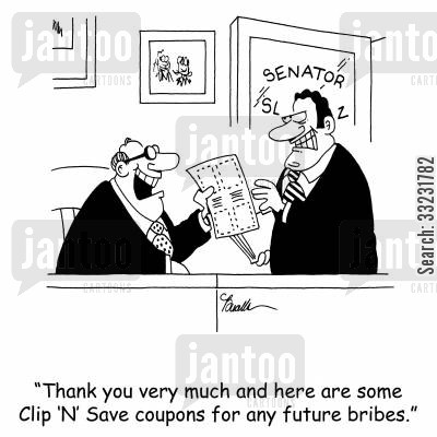 money saving cartoon humor: 'Thank you very much and here are some Clip 'N' Save coupons for any future bribes.'