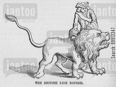 international relations cartoon humor: The British Lion Roused