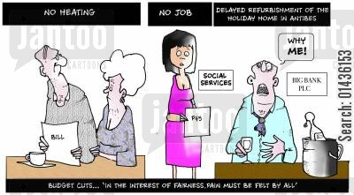 service cuts cartoon humor: Budget cuts in the interest of fairness must be felt by all.