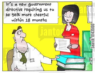 cheerful cartoon humor: Useless government guidelines